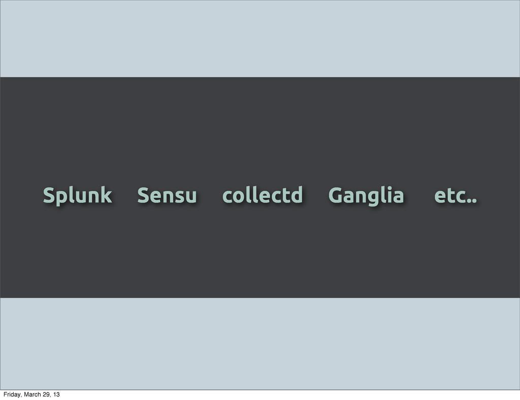 Splunk Sensu collectd Ganglia etc.. Friday, Mar...
