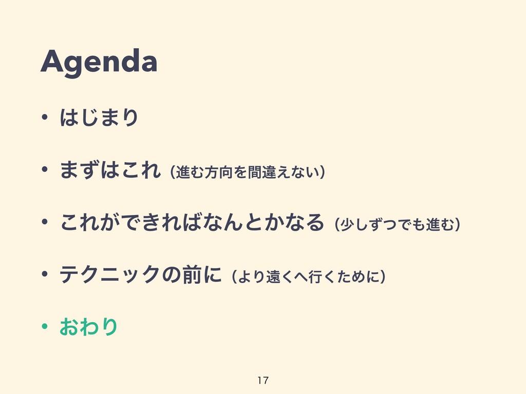 Agenda • ͡·Γ   • ·ͣ͜ΕʢਐΉํΛؒҧ͑ͳ͍ʣ   • ͜Ε͕Ͱ͖Ε...