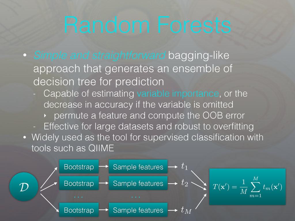 Random Forests • Simple and straightforward bag...
