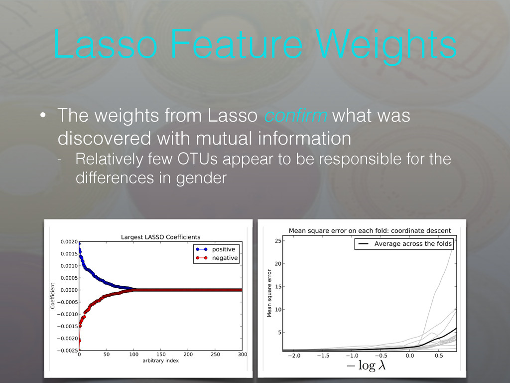 Lasso Feature Weights • The weights from Lasso ...