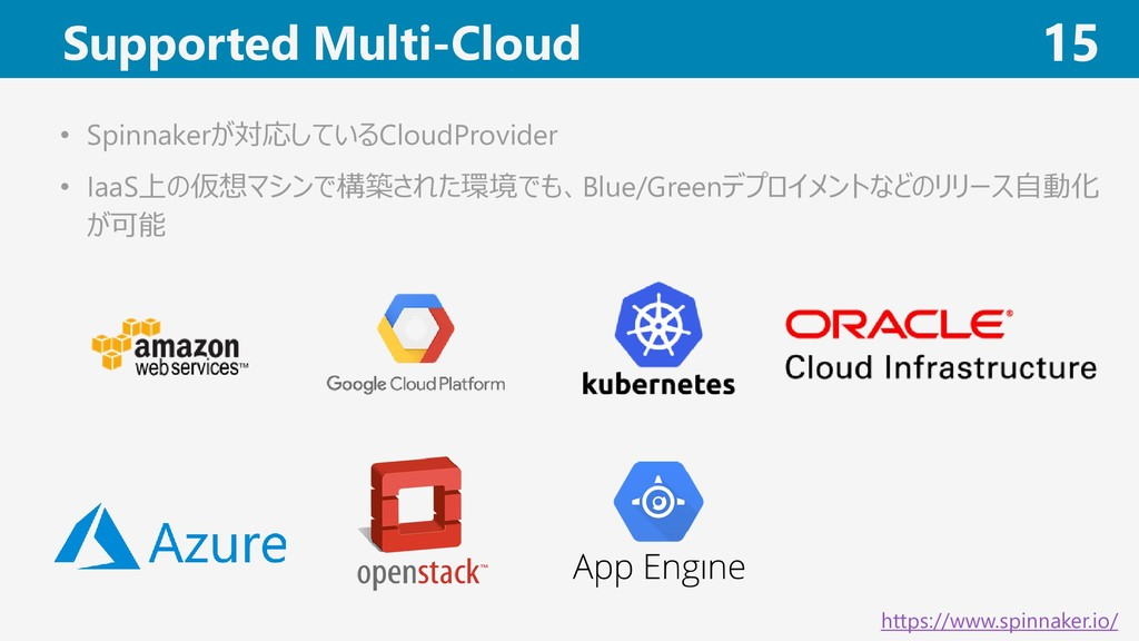 Supported Multi-Cloud 15 • Spinnakerが対応しているClou...
