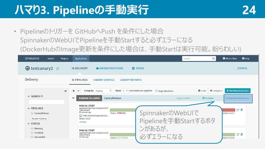 ハマり3. Pipelineの手動実行 24 • Pipelineのトリガーを GitHubへ...