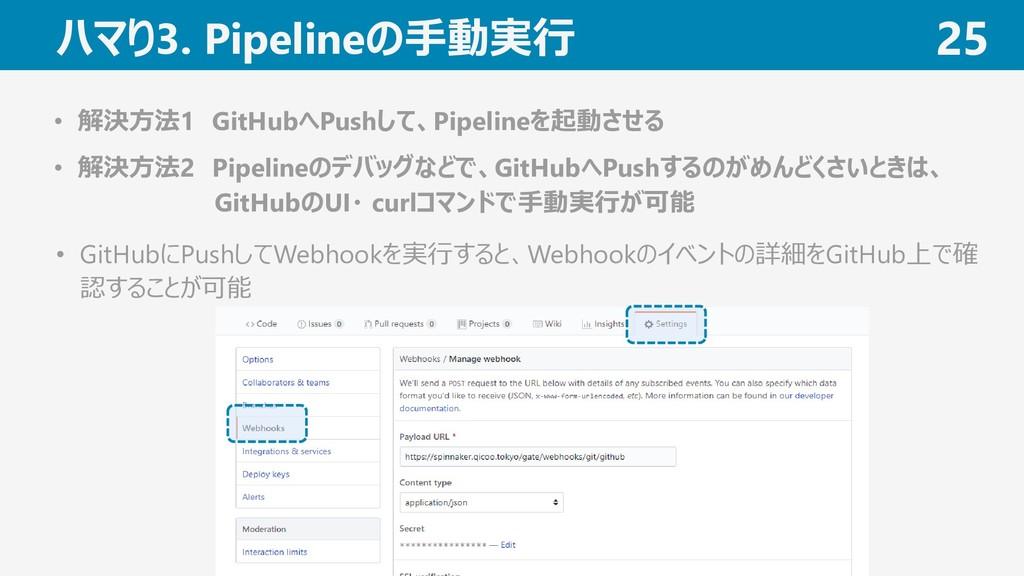 ハマり3. Pipelineの手動実行 25 • 解決方法1 GitHubへPushして、Pi...