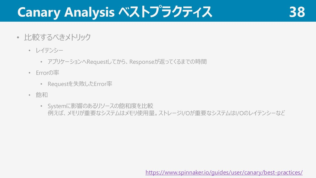 Canary Analysis ベストプラクティス 38 https://www.spinna...