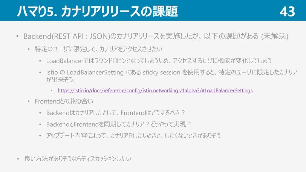 ハマり5. カナリアリリースの課題 43 • Backend(REST API : JSON)...