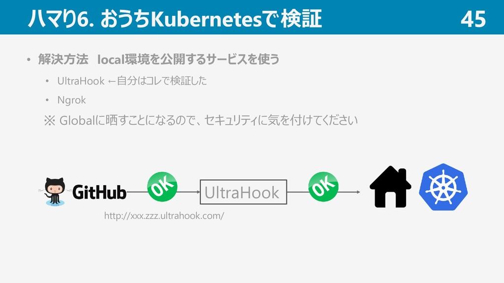 ハマり6. おうちKubernetesで検証 45 • 解決方法 local環境を公開するサー...