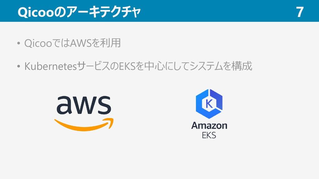 Qicooのアーキテクチャ 7 • QicooではAWSを利用 • Kubernetesサービ...