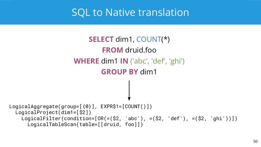 SQL to Native translation SELECT dim1, COUNT(*)...
