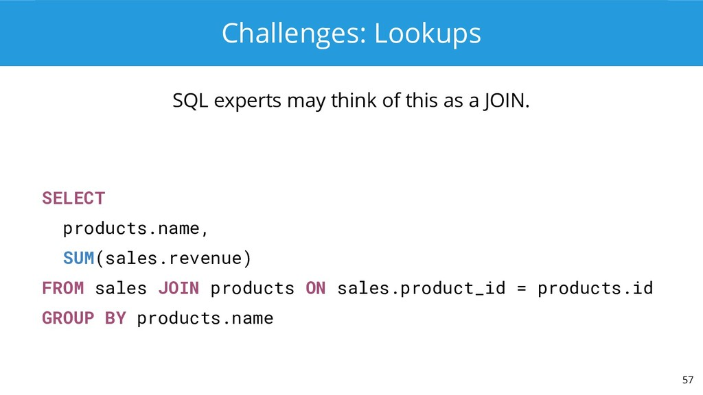 Challenges: Lookups SQL experts may think of th...