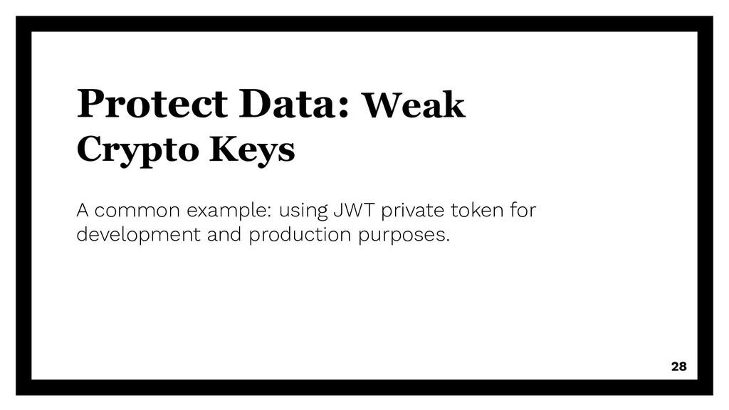 Protect Data: Weak Crypto Keys A common example...