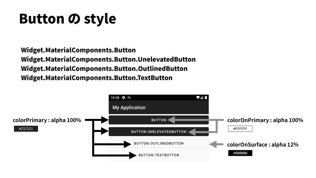 Button の style colorPrimary : alpha 100% colorO...