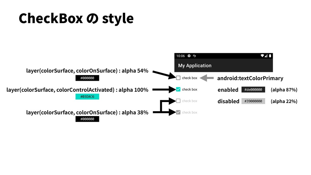 CheckBox の style layer(colorSurface, colorOnSur...