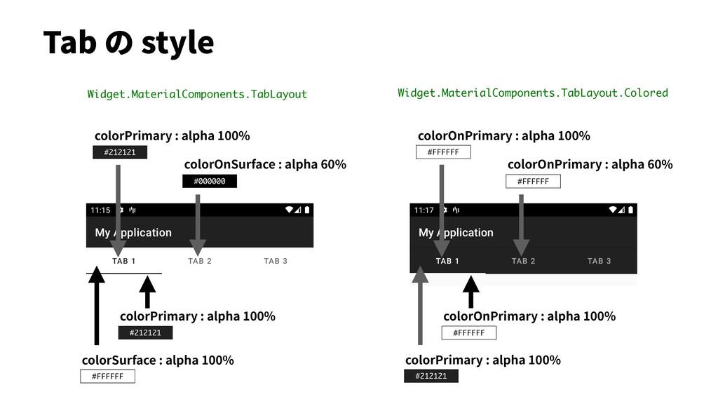 #FFFFFF #FFFFFF Tab の style colorPrimary : alph...
