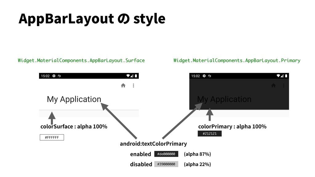 #212121 AppBarLayout の style Widget.MaterialCom...