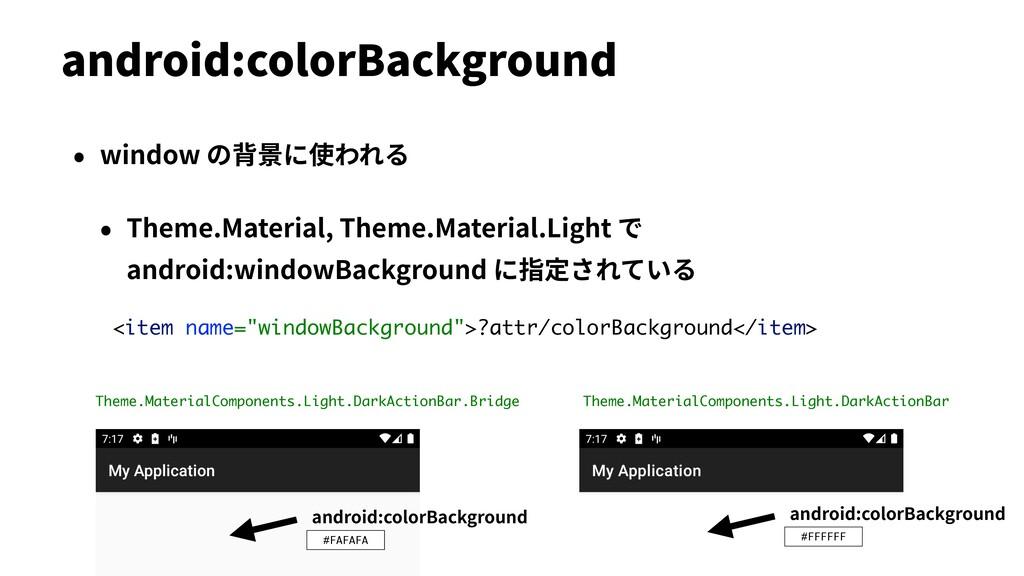 • window の背景に使われる • Theme.Material, Theme.Mater...