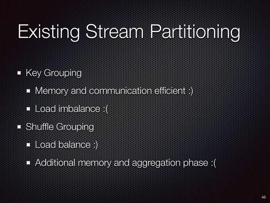 Existing Stream Partitioning Key Grouping Memor...