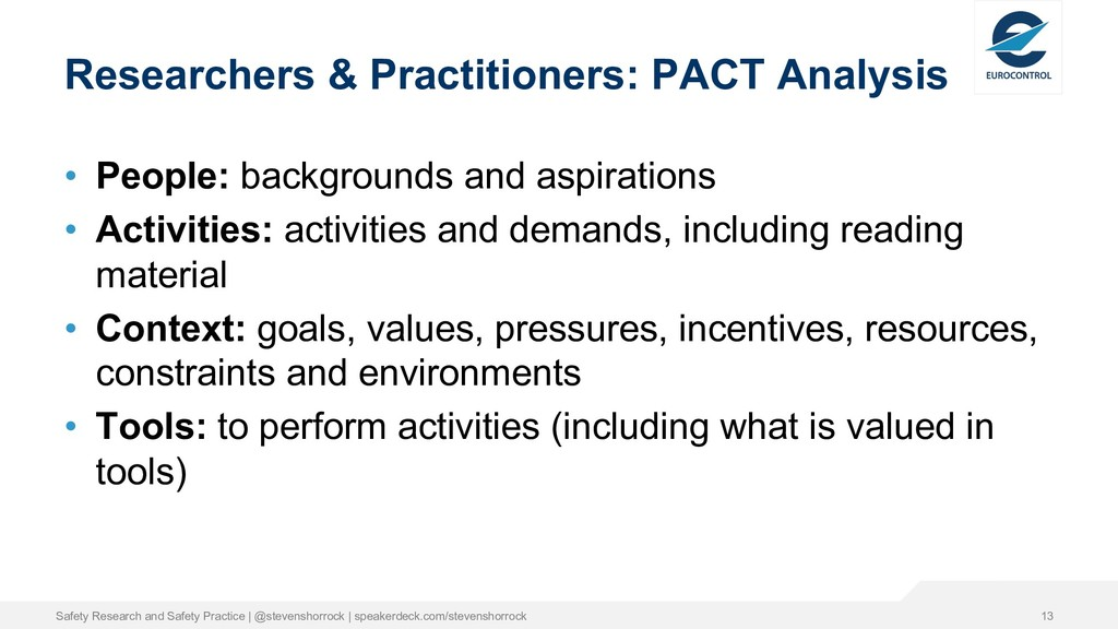 Researchers & Practitioners: PACT Analysis • Pe...
