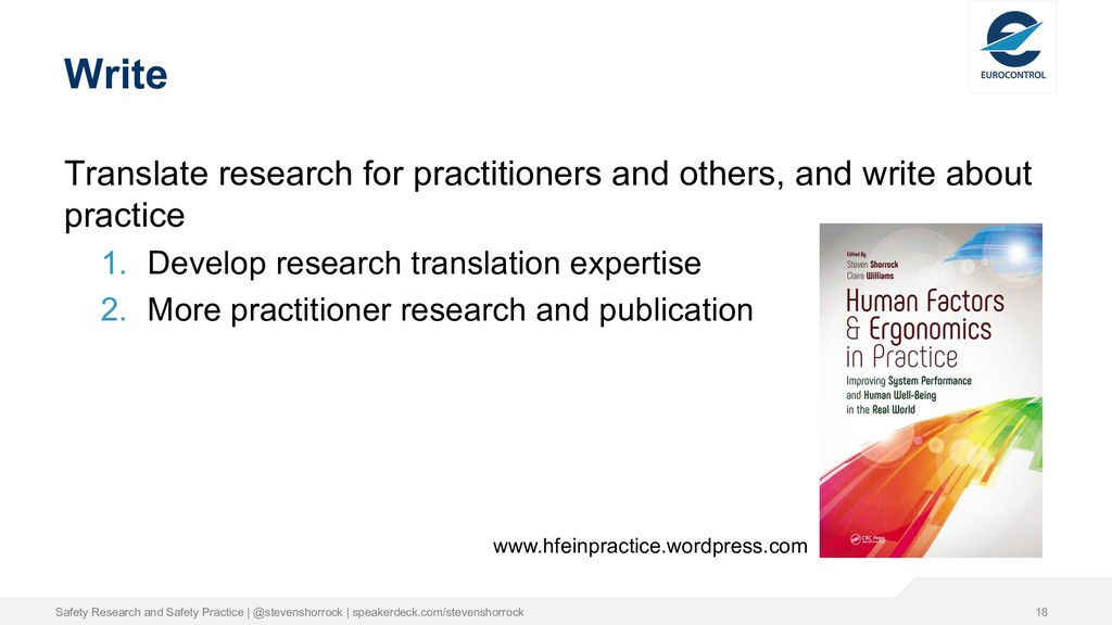 Write Translate research for practitioners and ...