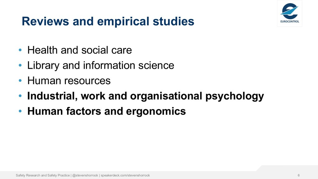 Reviews and empirical studies • Health and soci...