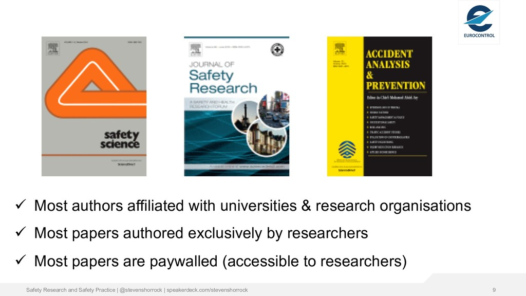 9 ü Most authors affiliated with universities &...
