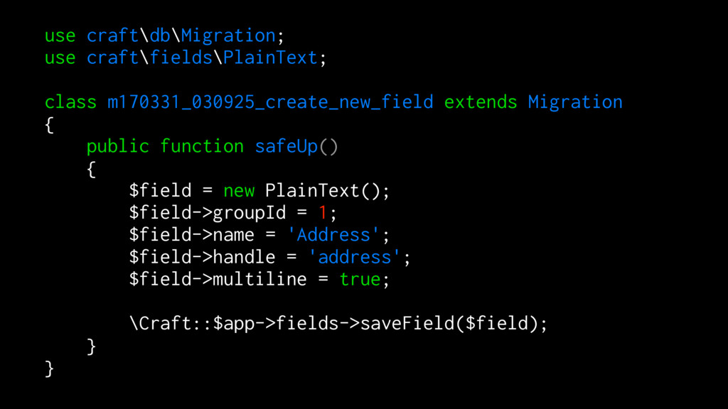 use craft\db\Migration; use craft\fields\PlainT...