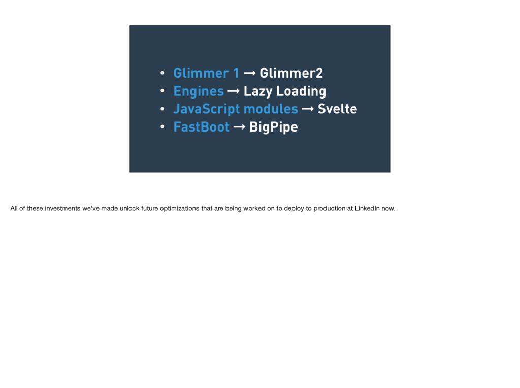 • Glimmer 1 ➞ Glimmer2 • Engines ➞ Lazy Loading...