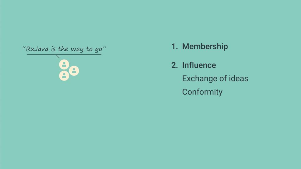 1. Membership 2. Influence Exchange of ideas ...