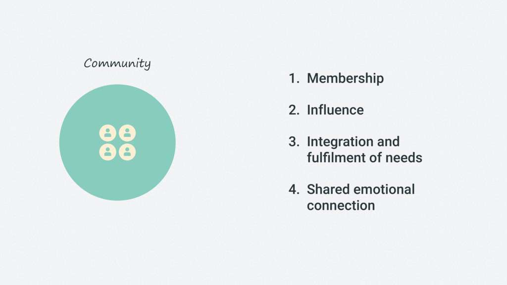 1. Membership 2. Influence 3. Integration and 