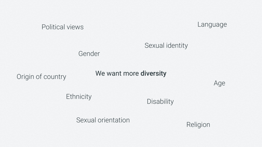 We want more diversity Gender Ethnicity Sexual ...