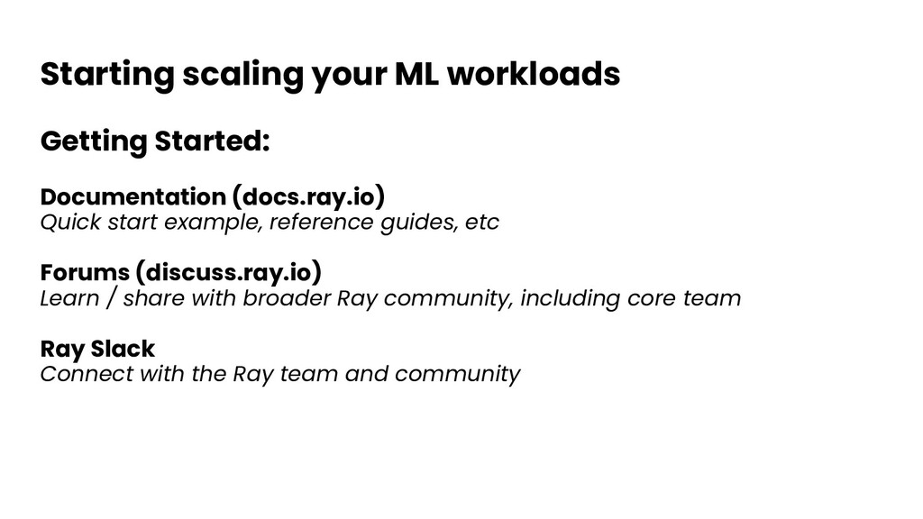Starting scaling your ML workloads Getting Star...