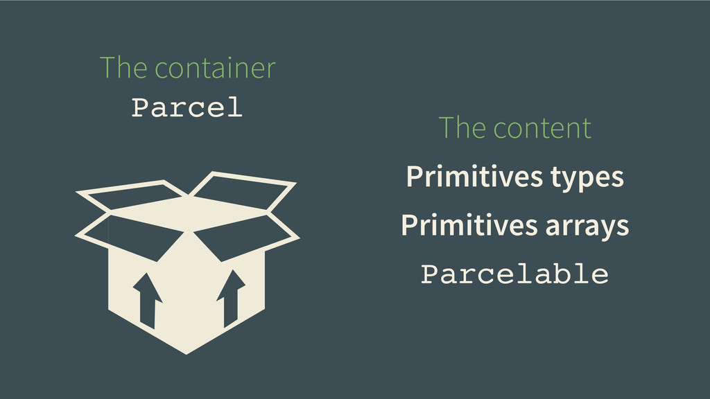 Parcelable The container Parcel The content Pri...
