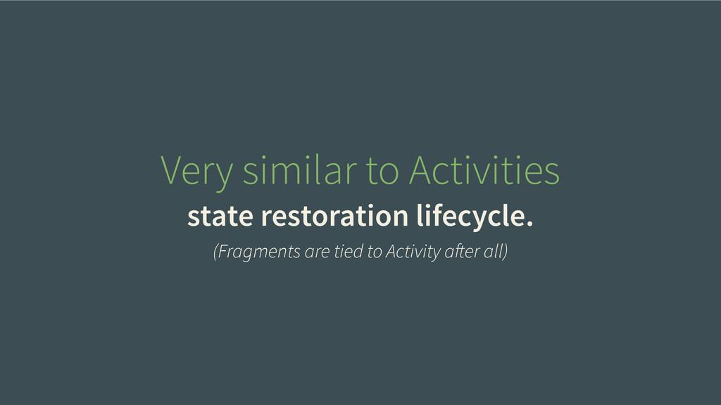 Very similar to Activities state restoration li...