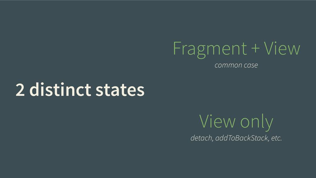 2 distinct states Fragment + View common case V...