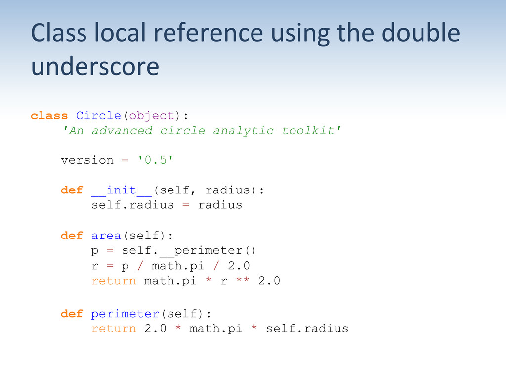 Class local reference using the ...