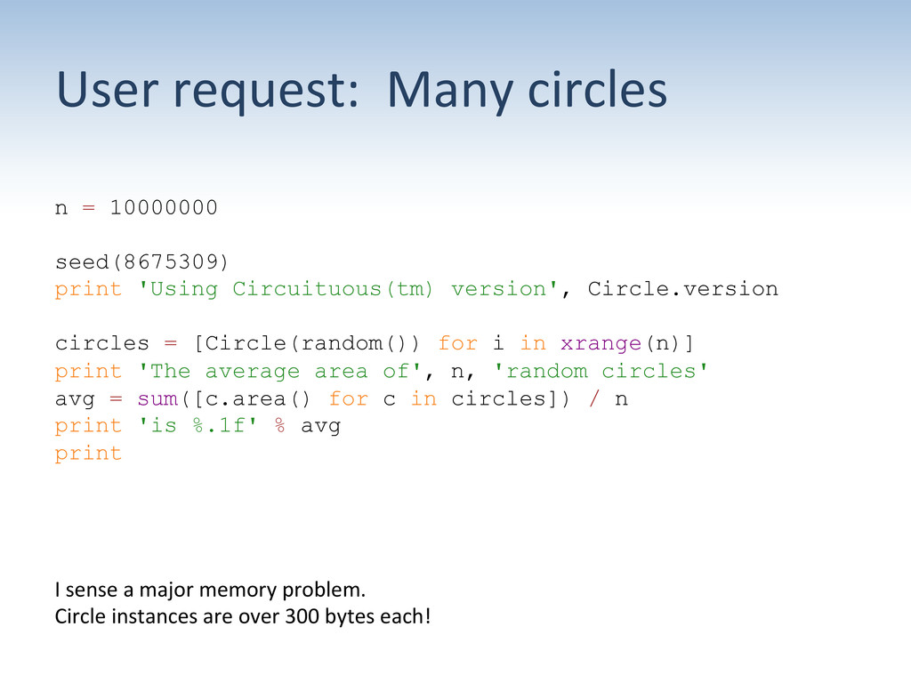 User request:  Many circles  n =...