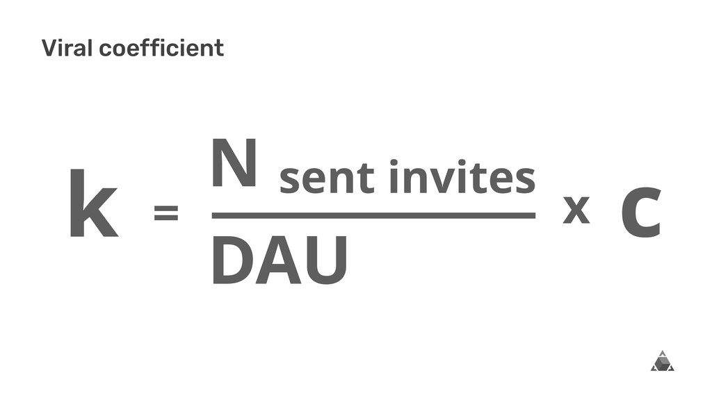 Viral coefficient c N sent invites DAU k x =