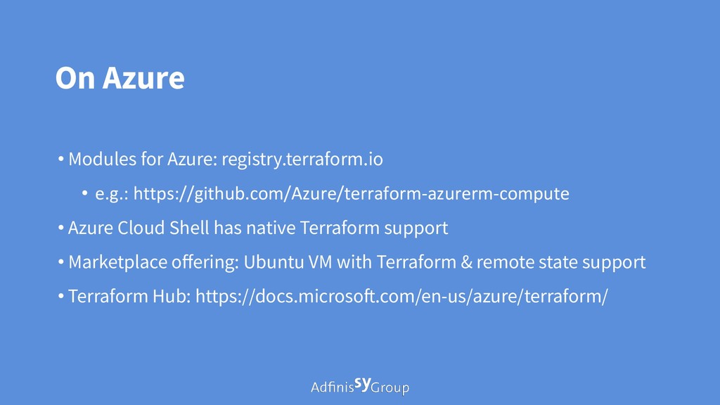 On Azure • Modules for Azure: registry.terrafor...
