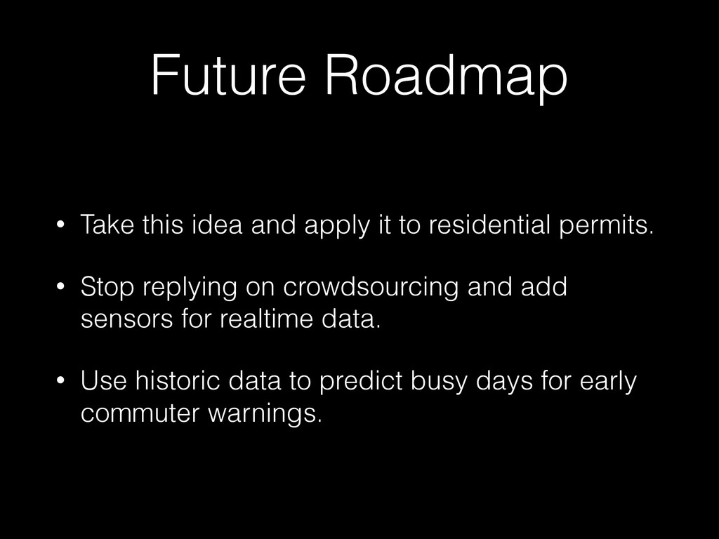 Future Roadmap • Take this idea and apply it to...