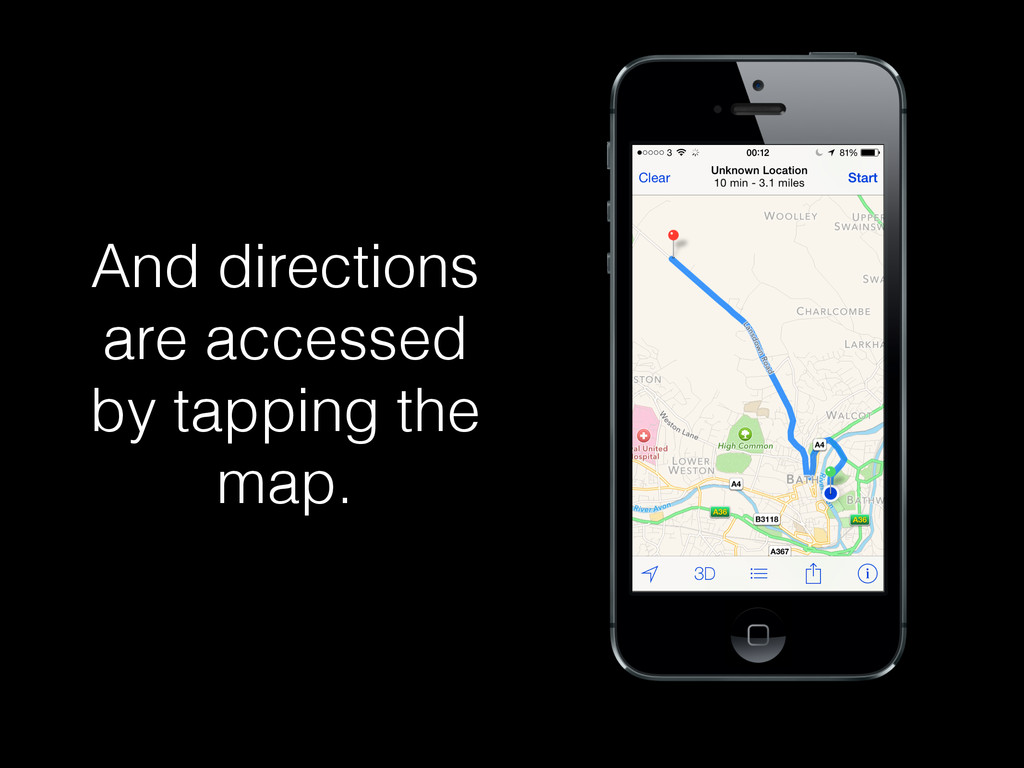 And directions are accessed by tapping the map.