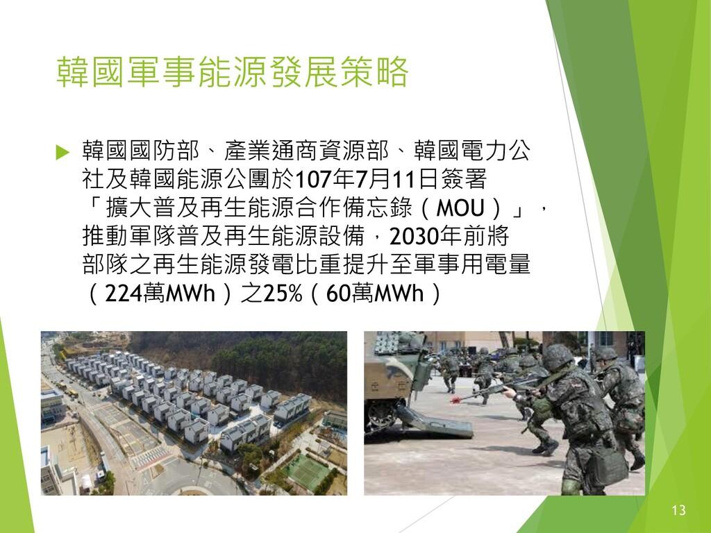 韓國軍事能源發展策略  韓國國防部、產業通商資源部、韓國電力公 社及韓國能源公團於107年7...