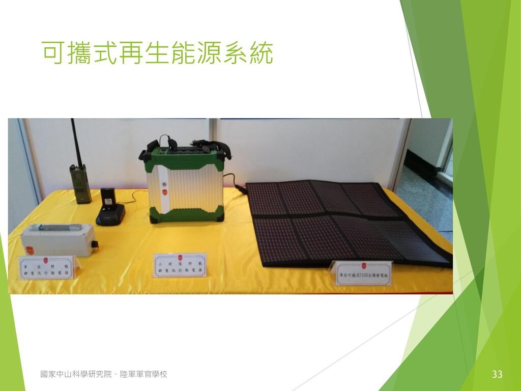 可攜式再生能源系統 33 國家中山科學研究院、陸軍軍官學校