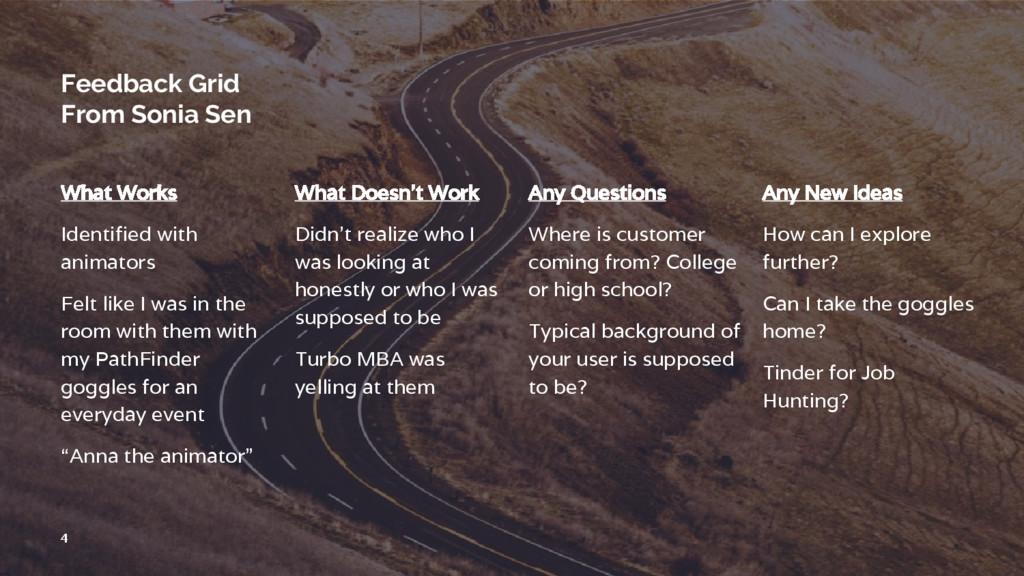 Feedback Grid From Sonia Sen What Works Identif...