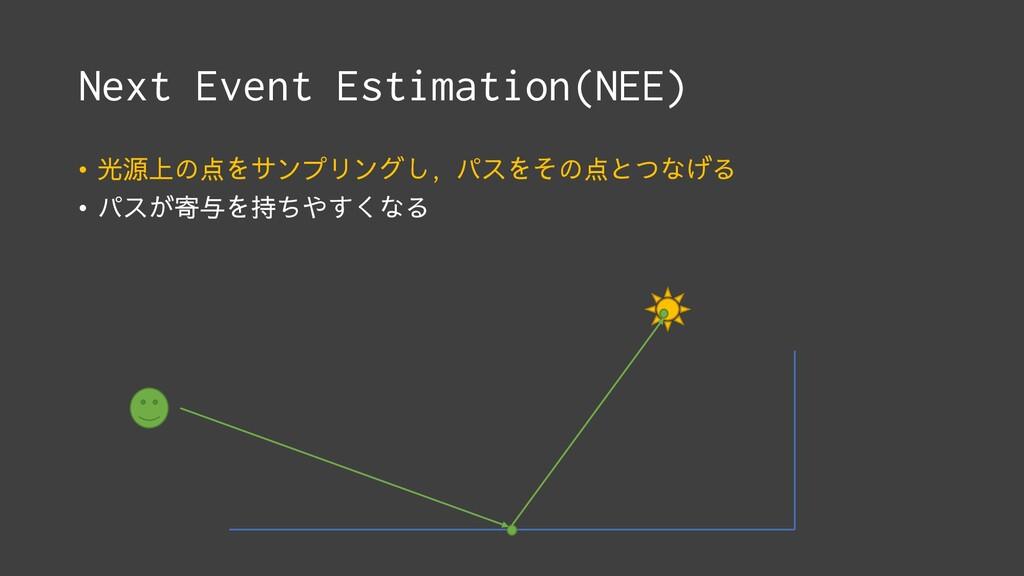Next Event Estimation(NEE) • 光源上の点をサンプリングし, パスを...