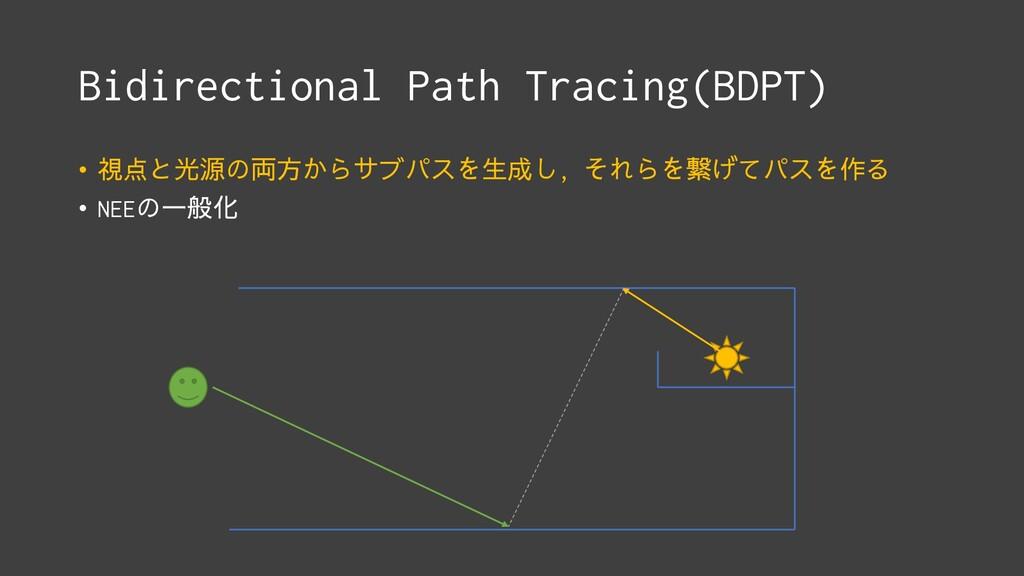 Bidirectional Path Tracing(BDPT) • 視点と光源の両方からサブ...