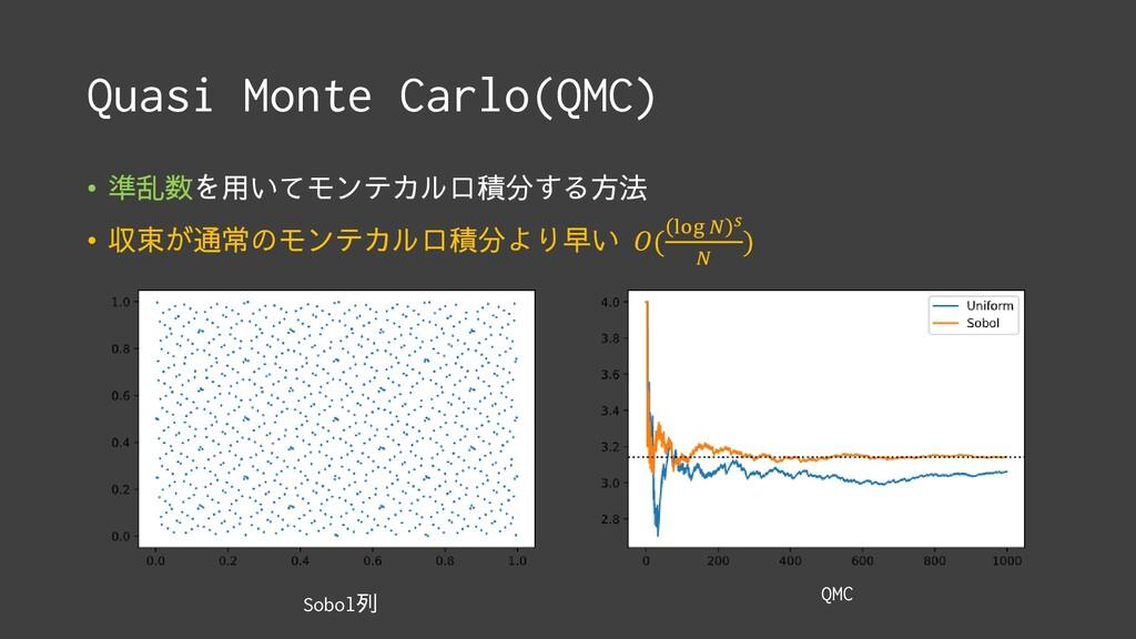 Quasi Monte Carlo(QMC) • 準乱数を用いてモンテカルロ積分する方法 • ...