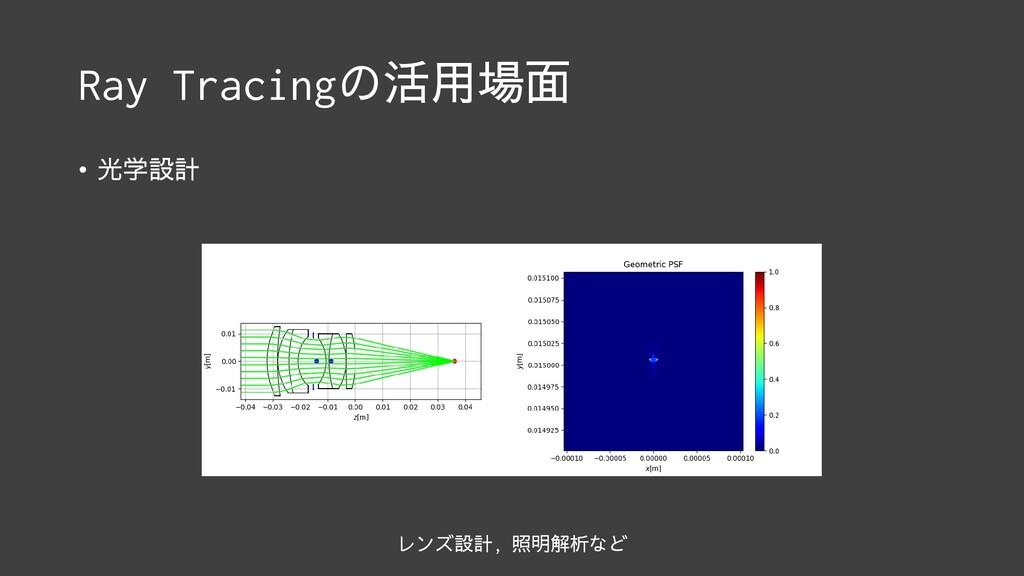 Ray Tracingの活用場面 • 光学設計 レンズ設計, 照明解析など
