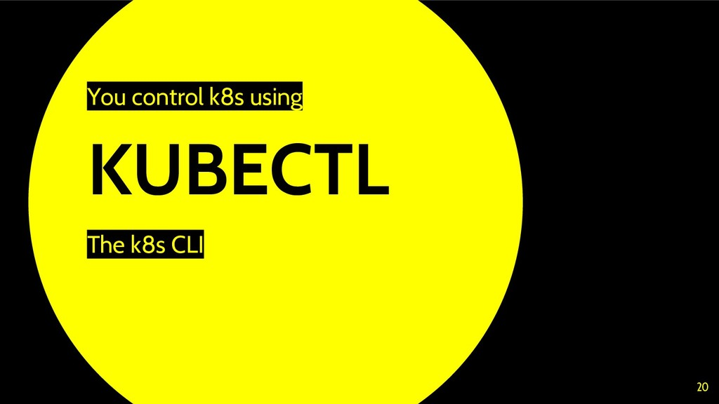 KUBECTL The k8s CLI 20 You control k8s using