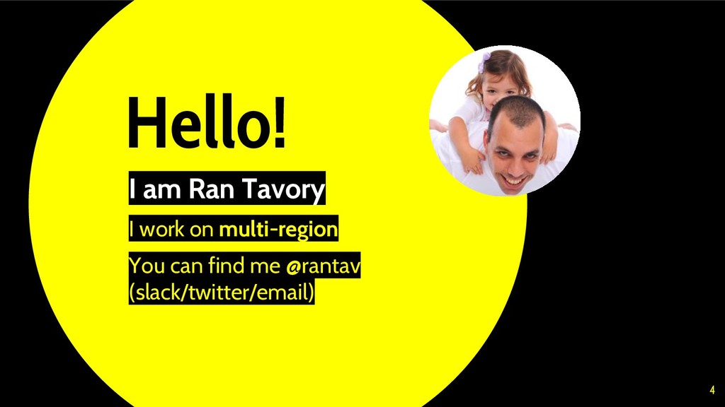 Hello! I am Ran Tavory I work on multi-region Y...