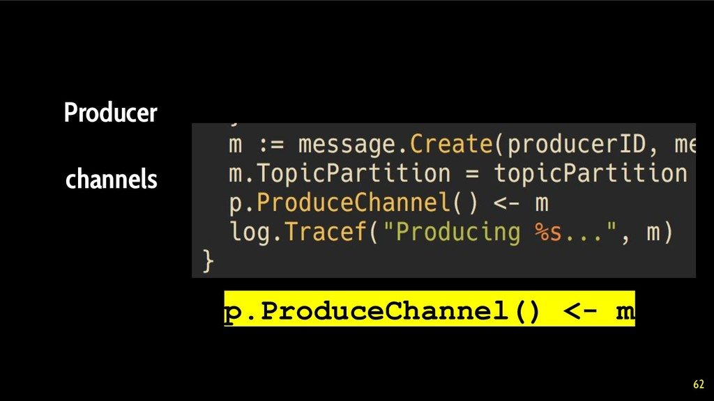 62 Producer channels p.ProduceChannel() <- m