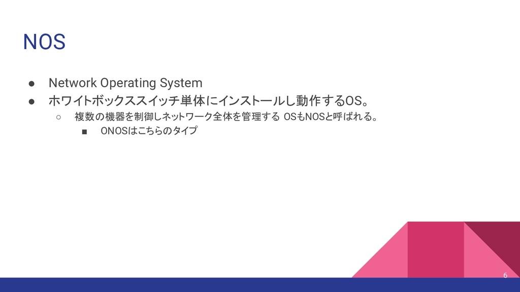 NOS ● Network Operating System ● ホワイトボックススイッチ単体...